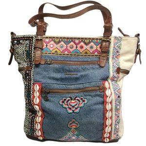 Desigual Denim Mixed Media Purse Handbag Tote Lined Bo-Ho